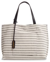 Street Level Reversible Stripe & Faux Leather Tote - Black