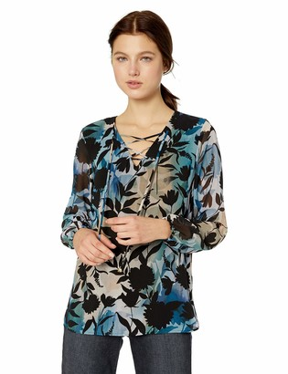 Calvin Klein Women's Printed LACE UP Long Sleeve