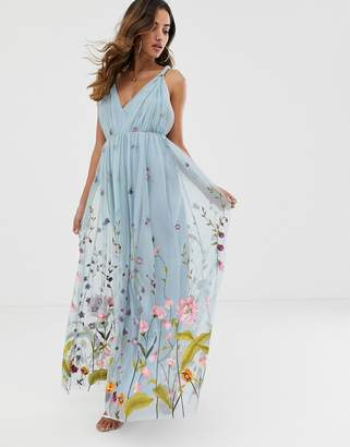 Asos Design DESIGN tulle maxi dress with delicate floral embroidery and twist straps-Blue