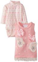 Bonnie Baby Girls Newborn Mitten Applique Sweater Jumper Set