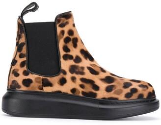 Alexander McQueen Leopard Print Chelsea Boots