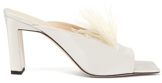 Wandler Isa Square-toe Feathered Satin Mules - Pearl