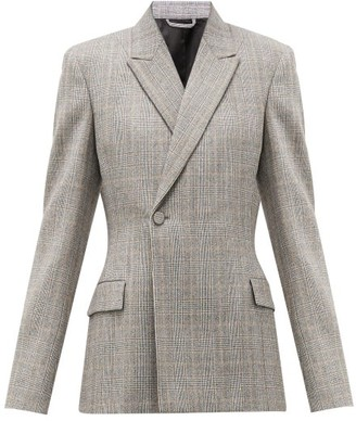 Balenciaga Prince Of Wales-check Wool Single-breasted Blazer - Grey