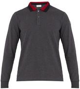 Moncler Contrast-collar cotton-piqué polo shirt