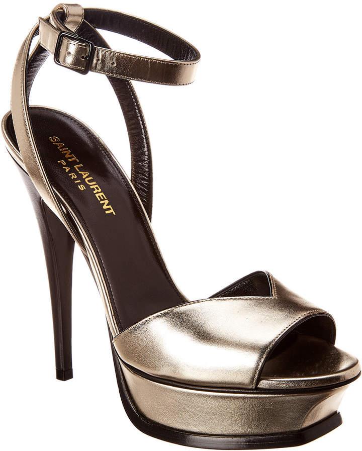 d61797eeaf Yves Saint Laurent Tribute Metallic Leather Sandals - ShopStyle
