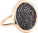 ginette_ny Large Black Diamond 18-karat rose gold Disc ring