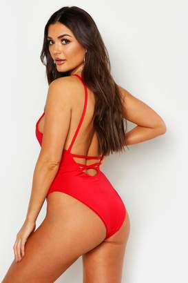 boohoo Low Lace Up Back Swimsuit