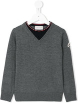 Moncler layered neck effect jumper - kids - Virgin Wool - 6 yrs