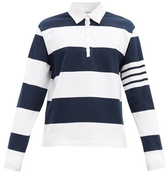Thom Browne Striped Long-sleeved Rugby Shirt - Navy