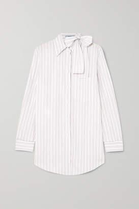 Prada Pussy-bow Striped Cotton-poplin Shirt - White