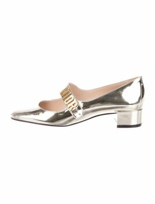 Christian Dior Baby-D Patent Leather Pumps Gold