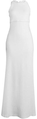 St. John Sequin Textured Wool-Blend Column Gown