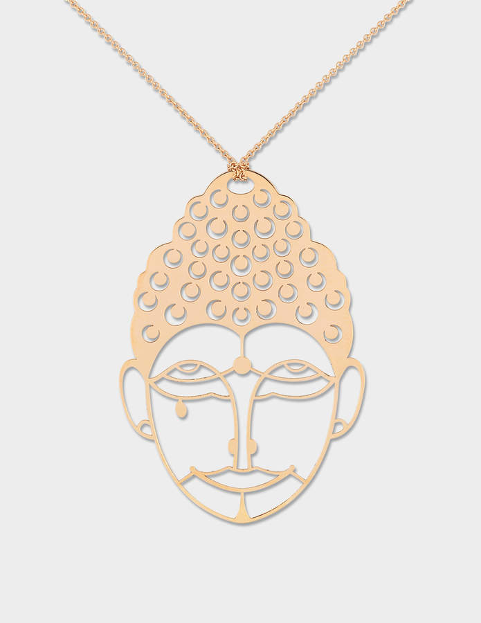 ginette_ny Buddah 18-karat rose gold necklace