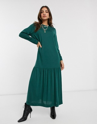 Asos DESIGN long sleeve dropped hem maxi t-shirt dress in forest green