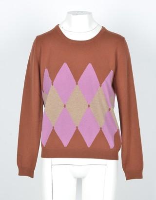 Ballantyne Rust/Beige Cashmere Argyle Women's Sweater
