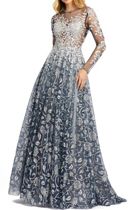 Mac Duggal Sequin Floral Illusion Long Sleeve A-Line Gown