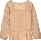 Chelsea Flower Crocheted-Paneled Pintucked Cotton Top