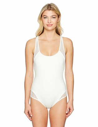 Carmen Marc Valvo Women's Sporty Soul Zipper Back One Piece Swimsuit