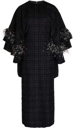 Huishan Zhang Ele Check Print Ostrich Feather Embellished Dress