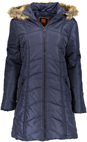 Navy Chevron Faux Fur Trim Hooded Puffer Coat