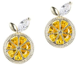 Eye Candy La Luxe Goldtone Crystal Lemon Zest Stud Earrings