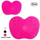 Makeup Brushes Cleaning Mat, LEOKOR Makeup Brush Cleaner Pad Set of 2 Cosmetic Brush Cleaning Mat Washing Tool with Suction Cup (Rose)