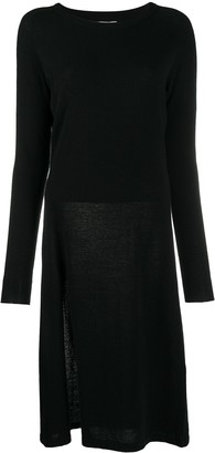 Laneus Split-Hem Long Sleeved Knit Dress