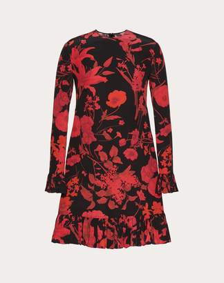 Valentino Overdyed Crepe De Chine Dress With Double Flower Print Women Black/ Red Silk 100% 38