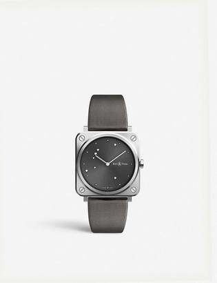 Bell & Ross BRSERUSTSCA Instruments BR S satin-polished steel and leather watch