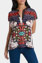 Jump Kaleidoscope Print Mesh Shoulder Top