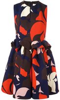 DELPOZO floral ruched waist dress