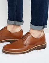 Asos Derby Shoes In Tan Leather With Natural Sole