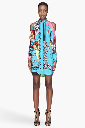 Versace Sky blue hippie Printed silk Blouse Dress
