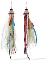 Etro Bead And Feather Earrings - Red