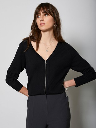 Mint Velvet V-Neck Zip Front Cardi - Black