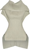 Rick Owens Judith Stretch Linen-blend Matelassé Peplum Top - Light gray