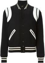 Saint Laurent leather patch varsity jacket - women - Cotton/Lamb Skin/Polyamide/Virgin Wool - 40