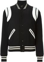 Saint Laurent leather patch varsity jacket - women - Cotton/Lamb Skin/Polyamide/Virgin Wool - 42