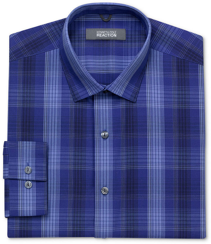 Kenneth Cole Reaction Dress Shirt, Blue and Black Plaid Long Sleeve Shirt