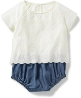 Old Navy Lace-Blouse & Chambray Bubble One-Piece for Baby