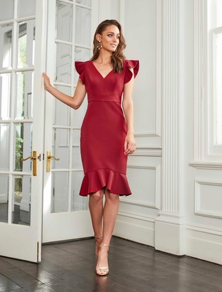Forever New Montie Frill Sleeve Dress - Dawn Berry - 10