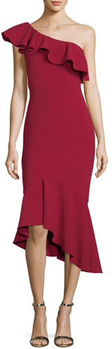 Theia One-Shoulder Asymmetric Ruffle Crepe Cocktail Dress