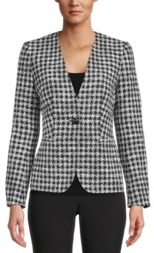 Bar III Houndstooth Single-Button Jacket, Created for Macy's
