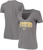 New Era Women's Gray Washington Redskins Gradient Glitter Choker V-Neck T-Shirt