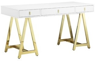 Everly Elzada Solid Wood Desk Quinn Color (Top): White
