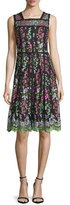 Parker Sleeveless Embroidered Paneled A-Line Dress, Green/Black