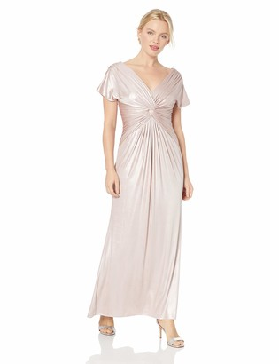 Adrianna Papell Women's Petite Metallic Twist Cap Sleeve Gown
