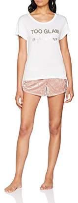 Boux Avenue Women's Too Glam TEE & Velvet Short Pyjama Sets, (White Mix Wx), 8