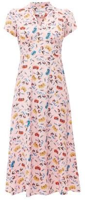 HVN Long Morgan Miami-print Silk-satin Dress - Light Pink