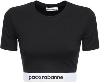 Paco Rabanne Jersey Crop Top W/ Logo Band